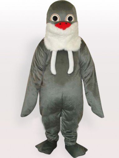 Grey Walrus with White Beard and Red Nose Adult Mascot Costume