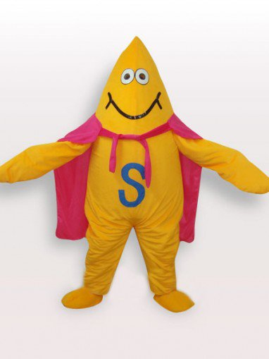 Unusual Yellow Starfish Short Plush Adult Mascot Costume