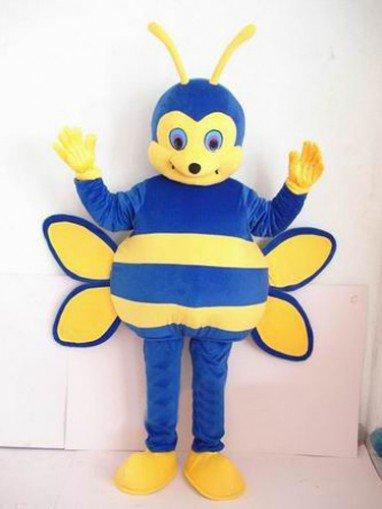 Blue Bee Short Plush Adult Mascot Costume
