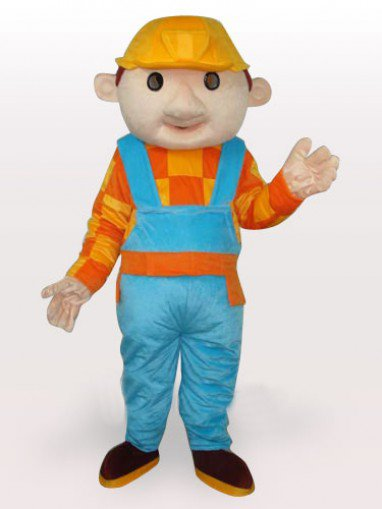 Construction Boy Short Plush Adult Mascot Costume