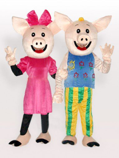 Mr. and Mrs. CoCo Pig Adult Mascot Costume
