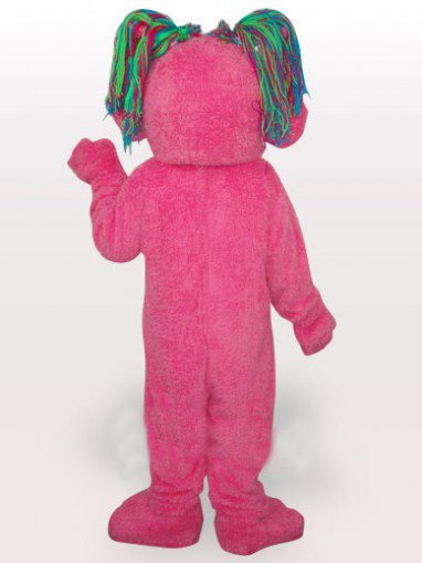 Pink Butterfly Girl Short Plush Adult Mascot Costume