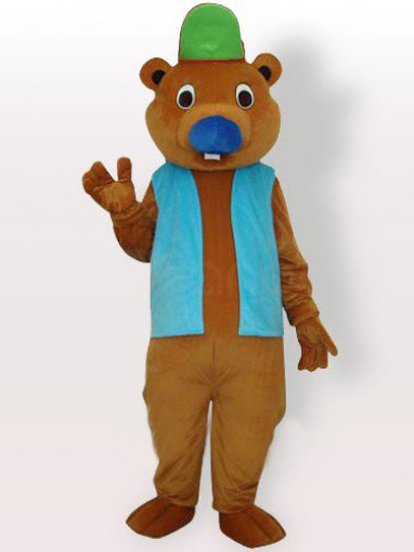Bear with Green Hat and Blue Vest Adult Mascot Costume