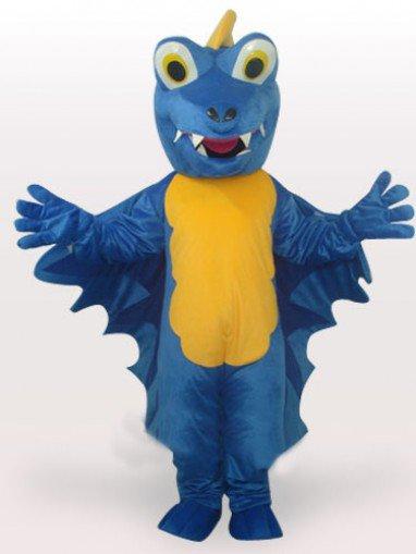 Blue Dinosaur Short Plush Adult Mascot Costume