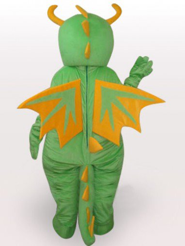 Classic Green Dinosaur Short Plush Adult Mascot Costume