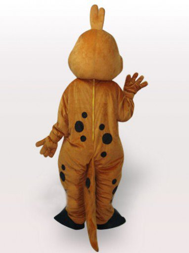 Gold Dinosaur Short Plush Adult Mascot Costume