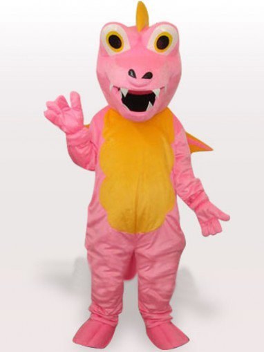 Pink Dinosaur Short Plush Adult Mascot Costume