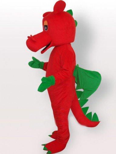 Red Dinosaur Short Plush Adult Mascot Costume