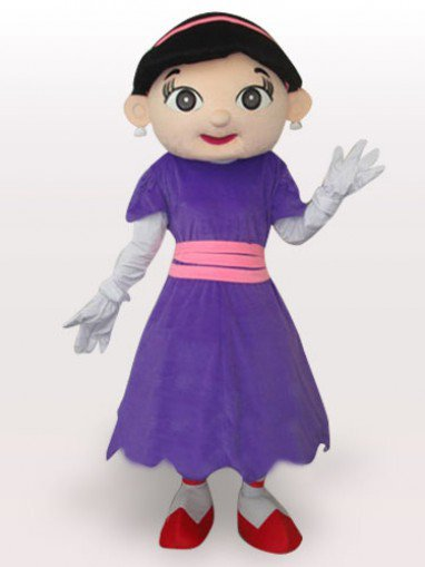 Purple Cow Girl Short Plush Adult Mascot Costume