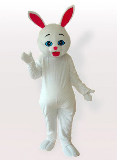 Red Ears Bunny White Adult Mascot Costume