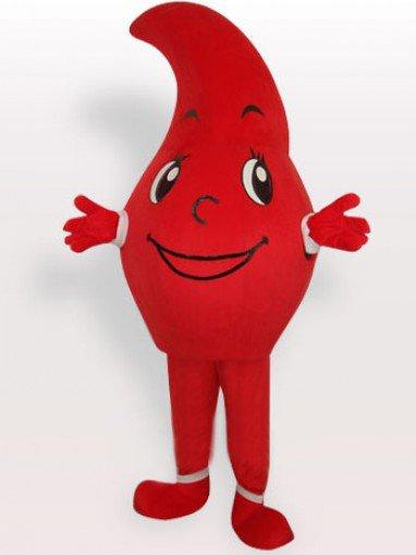 Red Waterdrop Short Plush Adult Mascot Costume