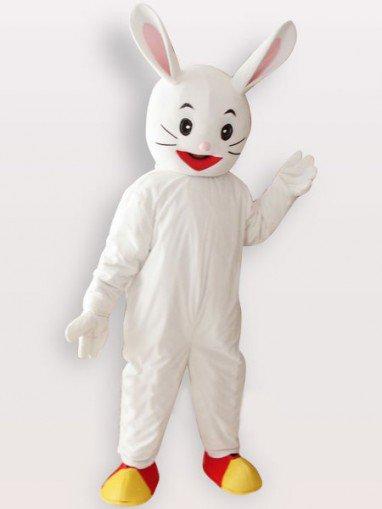 White Rabbit Short Plush Adult Mascot Costume