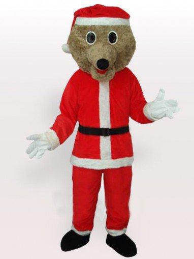 Grey Bear in Santa Outfit Adult Mascot Costume
