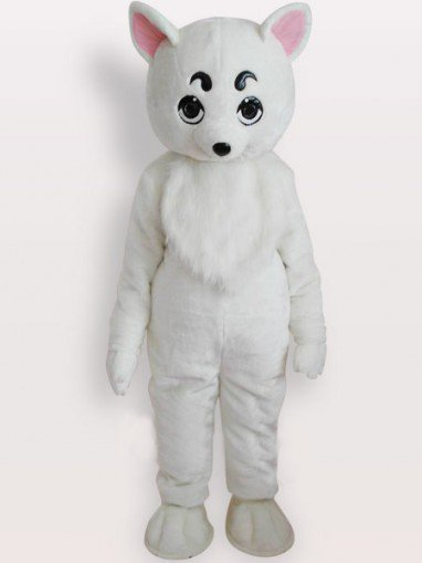 Top White Dog Short Plush Adult Mascot Costume