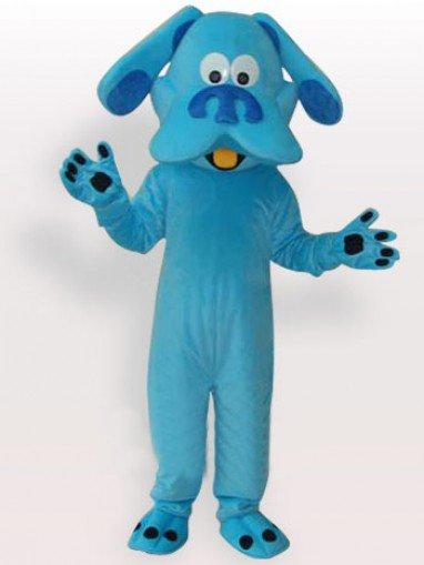 Unusual Blue Dog Short Plush Adult Mascot Costume