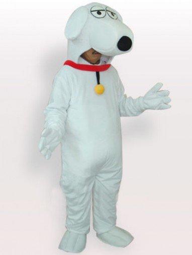 Unusual White Dog Short Plush Adult Mascot Costume