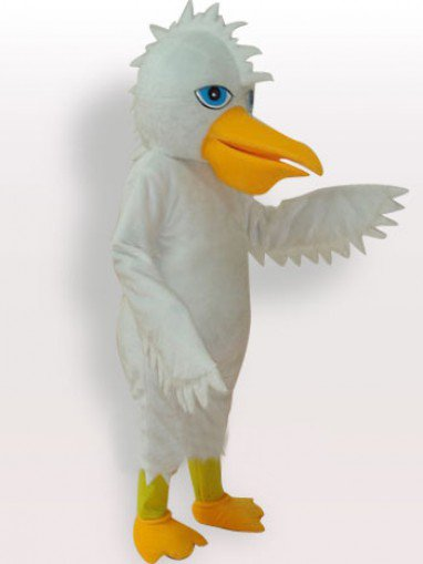 White Eagle Short Plush Adult Mascot Costume