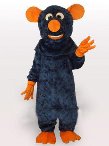 Big Tooth Black Plush Moust Adult Mascot Costume