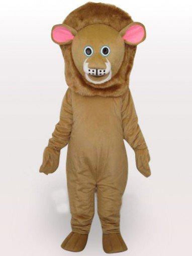 Brown Lion Short Plush Adult Mascot Costume