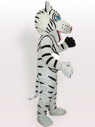Unusual White Tiger with Black Stripes Adult Mascot Costume