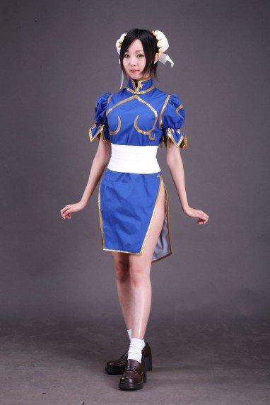 Street Fighter Chun-Li Adult Fighting Game  Blue Halloween Cosplay Costume