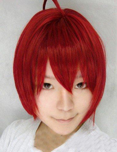 StarrySky red medium-length wig