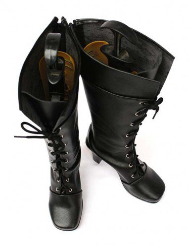 Vocaloid 2 Kety Black Faux Leather Lace-Up Halloween Cosplay Shoes