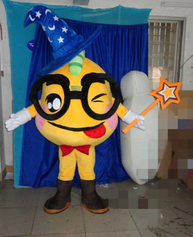 Big Box Black Glasses Hand-held Wand Cartoon Clothing Hat Blue Moon and Stars Magician Cartoon Dolls Mascot Costume