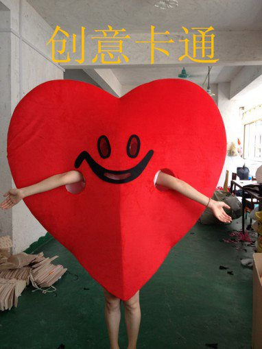 Red Cartoon Doll Clothing Creative Wedding Supplies Props Costumes Play Its Love Mascot Costume