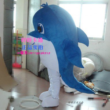 Aquarium Dolphin Mascot Dolls Walking Cartoon Clothing Blue Dolphin Doll Clothes Doll Wig Props Mascot Costume