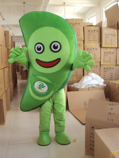 Vegetable Soybeans Dolls Walking Cartoon Mascot Apparel Stage Performance Clothing Costumes Peas Mascot Costume