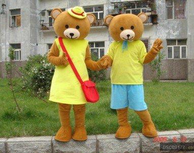Winnie The Pooh Cartoon Clothing Couple Walking Performance Costumes Adult Bear Yellow Vest Mascot Costume