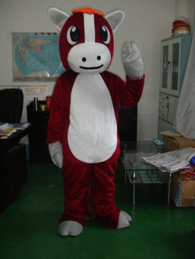 Zodiac Sell Cartoon Clothing Walking Horse Show Adult Costumes Red Horse Mascot Costume