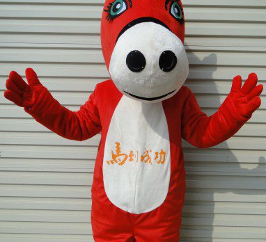 Red Horse Mascot Cartoon Doll Cartoon Clothing Doll Clothes Adult Costumes Walking Advertisement Mascot Costume