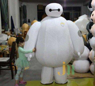 Hedging White Cartoon Dolls Walking Clothing Cartoon Film with Paragraph Super Marines Mascot Costume