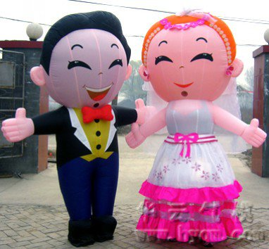 Wedding Inflatable Cartoon Inflatable Festivals Inflatable Dolls Bride and Groom Walking Inflatables Mascot Costume