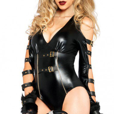 Europe and The United States Fall and Winter Sexy Fetish Catwoman Game Uniforms Siamese Stage Clothes Halloween Costume