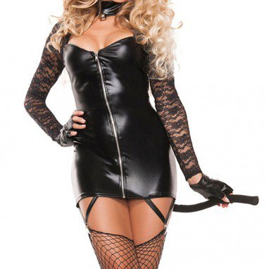 Europe and The United States Halloween Party Clothing Black Lace Long - Sleeved Sexy Wild Catwoman Clothing Halloween Costume