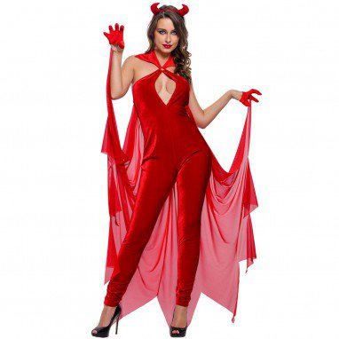 Europe and The United States Halloween Role - Playing Demons Velvet Jumpsuit Sexy Performance Service Halloween Costume