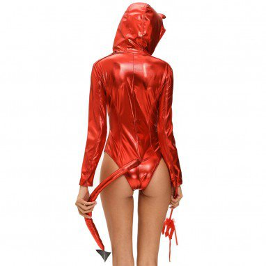 Europe and The United States Halloween Sexy Demon Dress Long Tail Horns Hooded Piece Pants Stage Service Halloween Costume