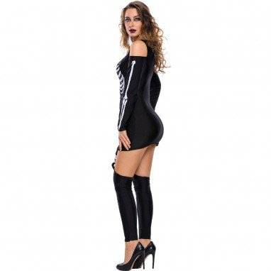 European and American Halloween Makeup Skeleton Printed Sexy Strapless Dark Performance Service Halloween Costume