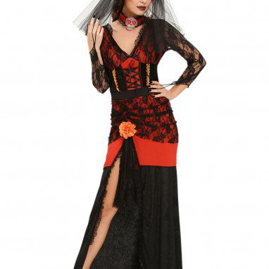 European and American Halloween Sexy Black Lace Stitching Dress Long - Sleeved Witch Stage Service Halloween Costume