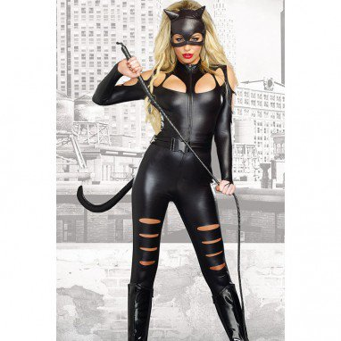 Fashionable Halloween Black Long - Sleeved Sexy Catwoman Fights One - Piece Dress Tights Halloween Costume