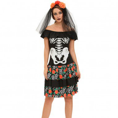 Fashionable Halloween Party Queen #39 S Skeleton Printed Make - Up Apparel Halloween Costume
