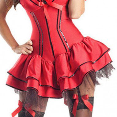 Fashionable Perfect Halloween Party Stage Performing Evil Devil Red Dress Halloween Costume