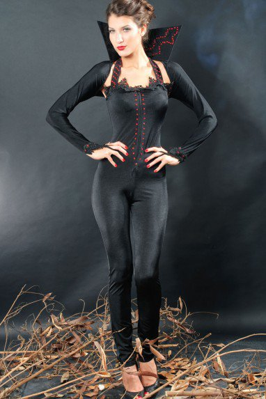 Halloween Black Long Sleeve Style Vampire Siamese Zip Sexy Sexy Stretch Outfit Halloween Costume