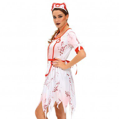 Halloween Horrible Zombie Nurse Installed Irregular Hem Three - Piece Women #39 S Performance Stage Service Halloween Costume