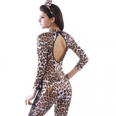 Leopard Lace Lace Siamese Lion Installed Catwoman Singer Stage Performance Uniforms Halloween Costume