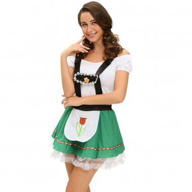 Europe and The United States Halloween Role - Playing Maid #39 S Shoulder Strapless Performance Stage Dress Halloween Costume