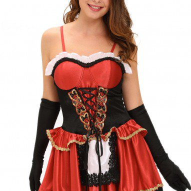 Europe and The United States Halloween Role - Playing Night Hat Hooded Fairy Tale Little Red Riding Hood Stage Suit Three - Piece Halloween Costume